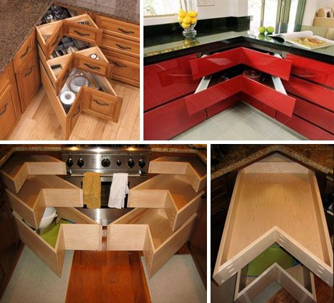 Corner-Fitting Drawers: why has no one thought to use this space before?!