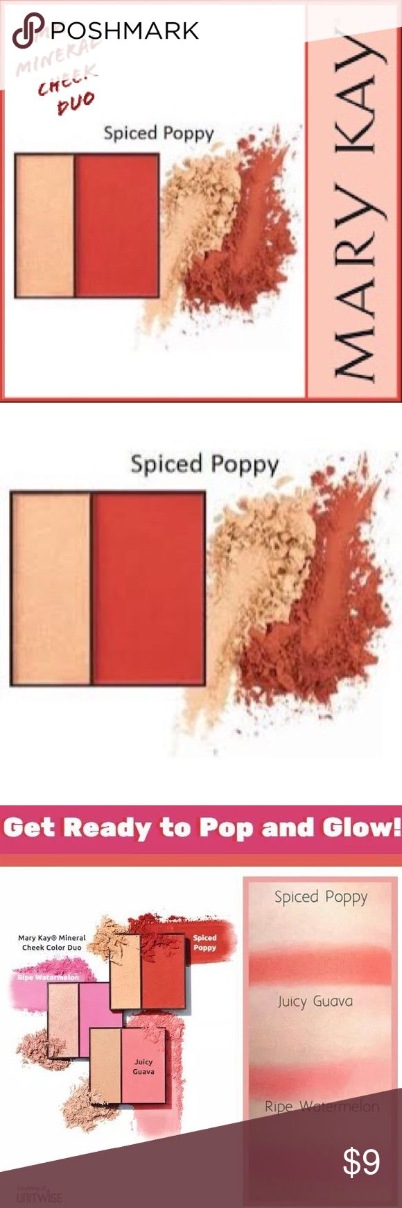 🆕 Mary Kay Mineral Cheek Color Spiced Poppy 🆕 Mary Kay Mineral Cheek Duo Spiced Poppy ( Matte) ▪️Brush on a healthy glow with Mary Kay Mineral Cheek Color Duo. So versatile, it delivers a sheer/saturated glow.  ▪️Rich, vibrant shades are great for any skin tone. ▪️Perfect for creating a radiant, healthy glow. ▪️Palette contains a matte blush + a pearlized highlighting shade. ▪️Great color payoff means you can wear it sheer – or build it up bold! ▪️Cheek color stays true & lasts all day…