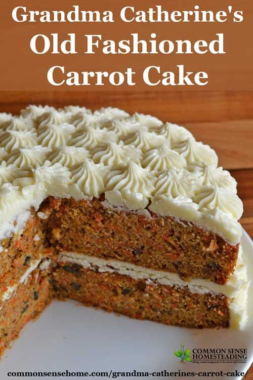 This old fashioned carrot cake recipe with cream cheese frosting is loaded with real carrots and bakes up moist and delicious - never dry.