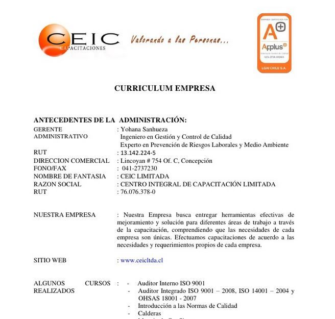 Curriculum Empresarial, Ejemplos