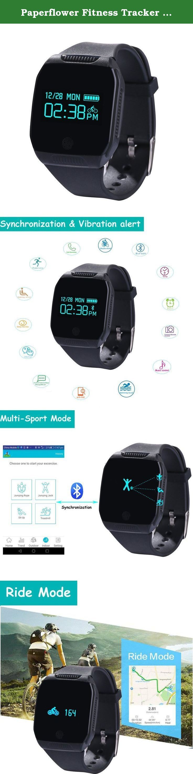 Paperflower Fitness Tracker Wearable Waterproof Smartwatch Touch key Pedometer Smart Bracelet with Multifunction for Iphone 5/5s/6/6 plus Samsung S2/S3/S4 Smart Phone (Black). Welcome to Paperflower Store. If you have any question,please feel free to contact us,we will reply within 24 hours. We offer 30 days money back guarantee,if item defect or does not meet expectations PLEASE BE ASSURED TO PURCHASE! Specification: Product body size: 34x44x10mm Display: 0.96inch OLED display Wristband...