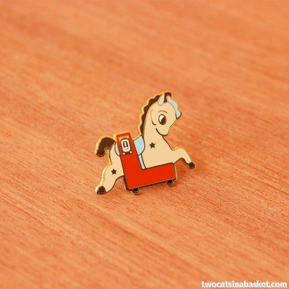 Broche Kiddy Ride Horse - TWO CATS IN A BASKET