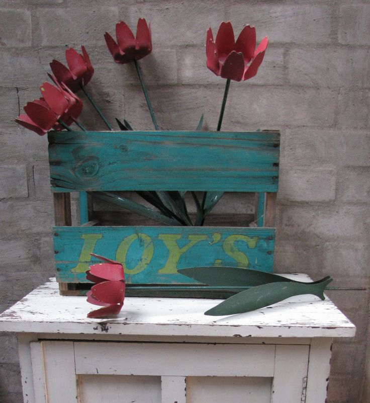 Vintage styling: old metal tulip drink holders and a a rustic soft drink Loy's crate. https://www.facebook.com/pages/Rubys-and-Pearls/744861835533003