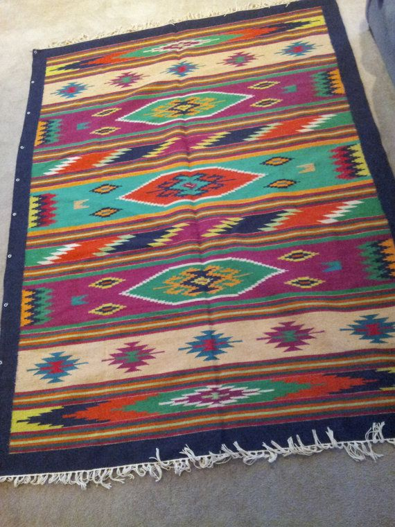 Wall Blanket. Made from rough wool by Native Mexican Zapotec Indians.    C. 1940's