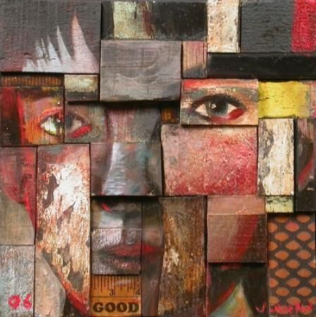 """Baxter"", assemblage, mixed media on wood, by John Whipple"