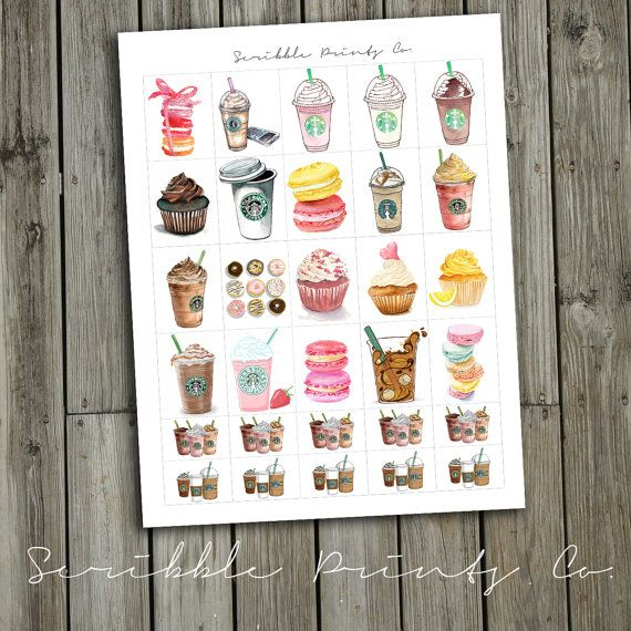 Printable Planner Stickers PDF // Starbucks by ScribblePrintsCo, $0.95