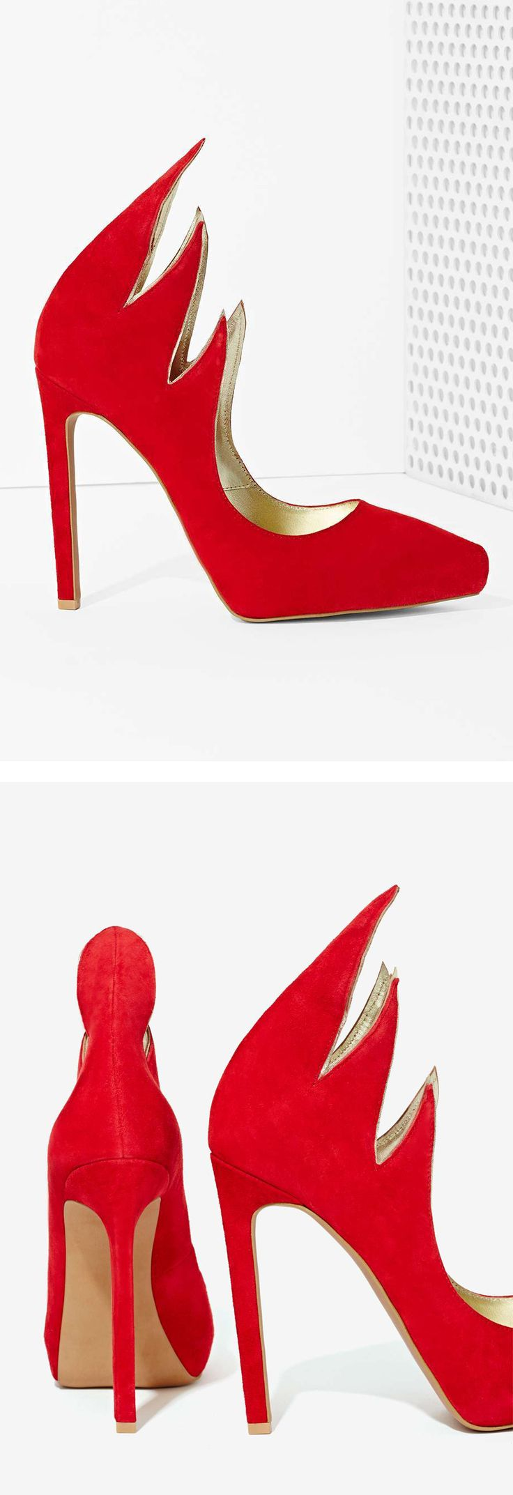 Miss Millionairess / Karen Cox. Jeffrey Campbell Red Flames high heel pumps