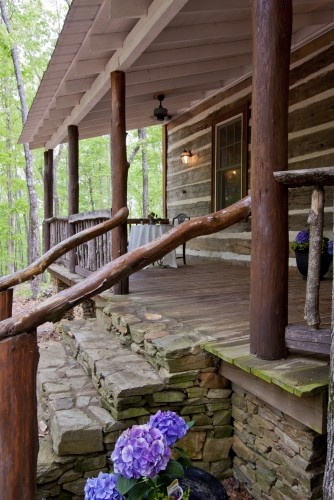 by Clark & Zook Architects GA, US · 18 photos Talking Rock Log Cabin http://www.clarkzookarchitects.com Log house, front porch, Clark & Zook Architects, LLC I love the stone/wood look!
