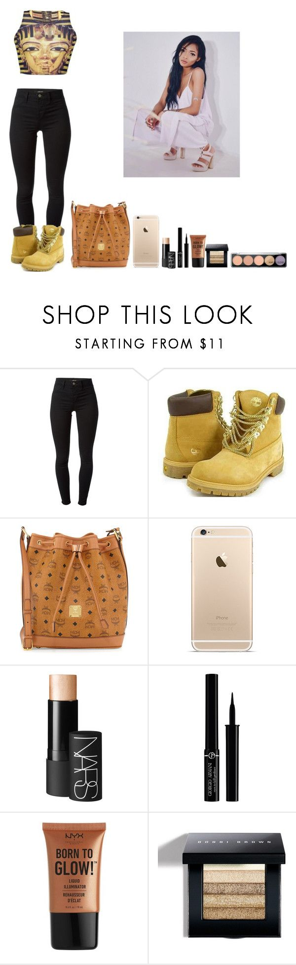 """""""-Dolly"""" by theflawless-doll on Polyvore featuring J Brand, Timberland, MCM, NARS Cosmetics, Giorgio Armani, NYX, Bobbi Brown Cosmetics, MAKE UP FOR EVER and OFFI"""