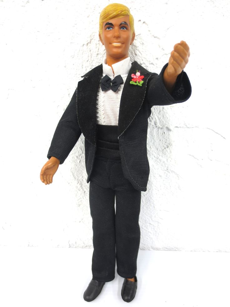 "Vintage 1968 Wedding Ken Doll in Tuxedo 12"" Signed Mattel, Blond Hair Blue Eyes"