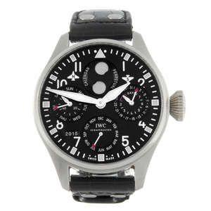 LOT:107 | IWC - a limited edition gentleman's platinum Big Pilot Perpetual Calendar wrist watch.
