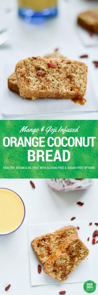 Orange Coconut Bread with Mango and Goji Berries | http://WIN-WINFOOD.com #healthy #vegan #glutenfree #sugarfree
