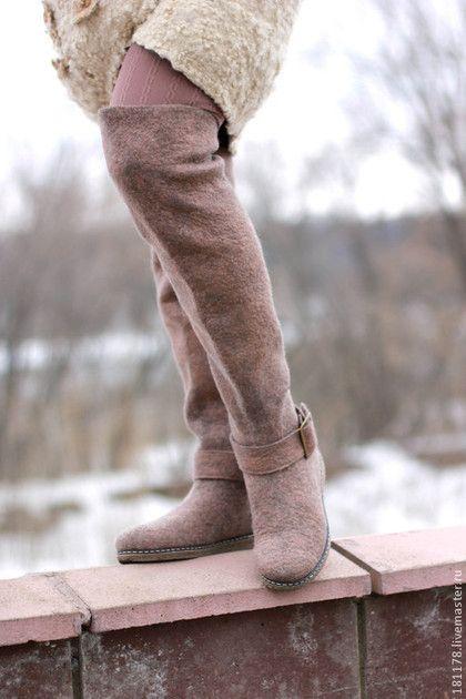 """Обувь ручной работы. Ярмарка Мастеров - ручная работа. Купить Валенки-ботфорты-трансформеры """"Терра"""". Handmade. Коричневый, ботфорты"""