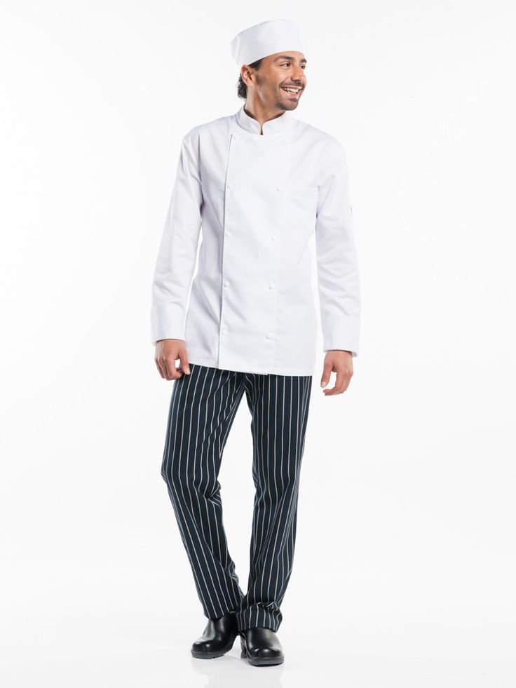 #264 Chef Jacket Roma White - The Roma looks classic just like the Firenze, but offers a more subtle design. The Roma is characterised by a straight fit and fastens with a double row of buttons. The jacket also has French cuffs and a luxury breast pocket. The satin weave makes the fabric soft and comfortable. A sophisticated take on a classic design.  Straight Fit Visible fastening - Press buttons Breast & pen pocket
