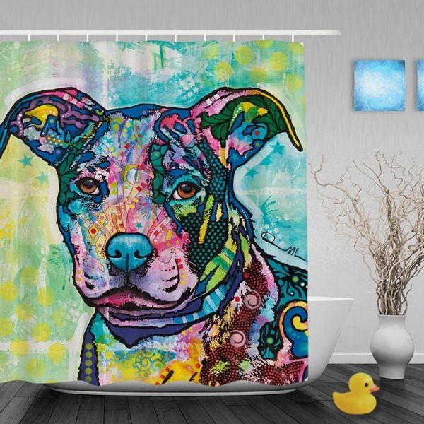 Pitbull Dog Pop Art Waterproof Shower Curtain Lovely Animal Bathroom Curtains High Quality Home Decor Bath Curtains