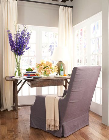 34. Add warmth and depth with soft gray paint on the walls — Glidden's Wood Smoke, with White on White trim