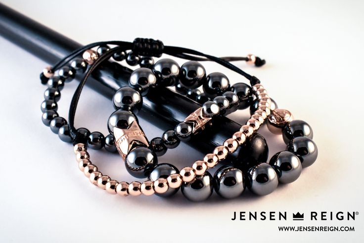 Bracelets by Jensen Reign. Spectacular 925 Silver finished in 18kt Rose Gold with Hematite. Stack features King's Realm Collection with The Usher Micro Macrame - Be the King in You #jrlife