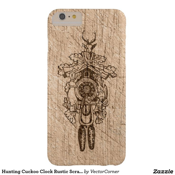 Hunting Cuckoo Clock Rustic Scratched Old Wood Barely There iPhone 6 Plus Case