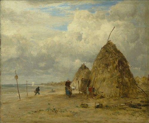 Constant Troyon, Fisherman's Huts 15 1/2 x 19,  oil on canvas