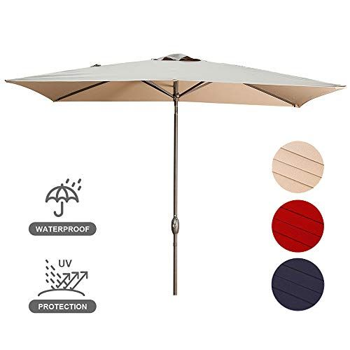Usspous Rectangular Patio Umbrella 10 X 6 5 Ft Outdoor Umbrella Garden Table Shade Umbrella With 6 St In 2020 Rectangular Patio Umbrella Patio Umbrella Shade Umbrellas