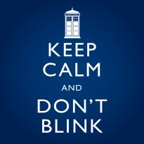 """Don't blink! Don't even blink! Blink and you're dead...     Get the  ORIGINAL  Keep Calm and Don't Blink t-shirt — inspired by the Doctor Who episode  Blink , and the British WWII era """"Keep Calm and Carry On"""" posters.     This t-shirt is a unique twist on two British classics."""