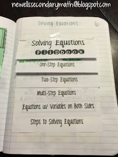FREE Solving Equations Flipbook Foldable