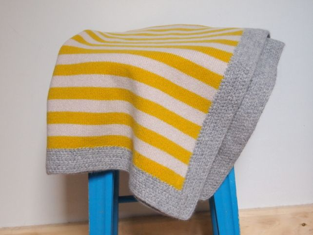 Knitted British Lambswool Golden Yellow, Beige Blanket With Grey Crochet Edging £38.00