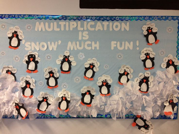 Penguin bulletin board: multiplication facts on snowballs
