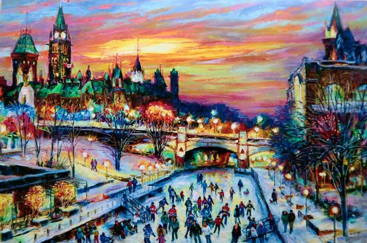 "Holiday Greeting art Card by Elena Khomoutova at www.LightFromArt.com.  Ottawa, Rideau Canal, winter skating, Winterlude, sunset, Peace Tower, Parliament buildings, Art Centre are on the card.  Size: 5.25 x 7"" with envelopes.  Package of 10 -  $29. Click on an image to see a larger one and then click on an image again for more examples of artworks... and perhaps to be lucky to get one if still available..."