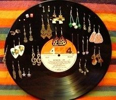 Make an earring holder. | Community Post: 19 Ways To Reuse Vinyl Records