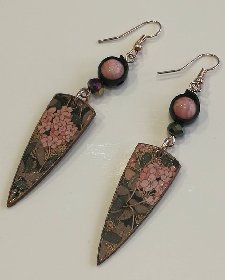 Decoupage Vintage Wallpaper & Recycled Bicycle Inner Tube Earrings by GreyShackStudio on Etsy