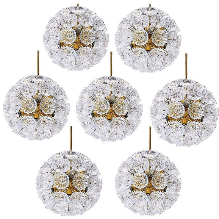 Pair of 12 Eye-Catching Floral Glass and Brass Sputnik Chandeliers, 1960