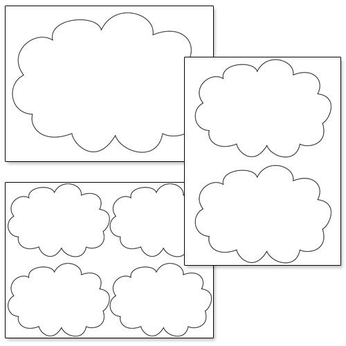 printable cloud cutouts from shapes and templates printables pinterest. Black Bedroom Furniture Sets. Home Design Ideas