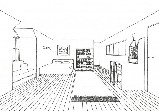 how to draw a room in 3 point perspective