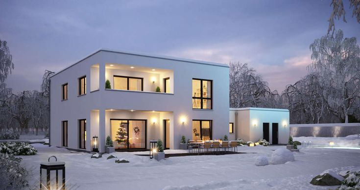 Kern-Haus Bauhaus Ixeo Gartenseite Winter