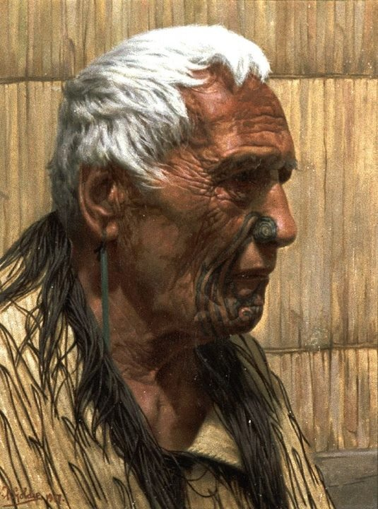 Tamaki Pehiriri was a venerable chief of the Ngapuhi people of Northland.    Whitening Snows Of Venerable Age - Tamati Pehiriri A Noble Chieftain Of The Ngapuhi Tribe 1917    Robert Bell bequest, 1943  Oil on canvas  69/81  1917    Source: http://christchurchartgallery.org.nz/collection/objects/69-81/