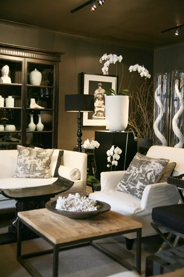I love the classy black and white decor