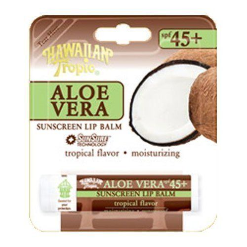 Hawaiian Tropic Aloe Vera Sunscreen Lip Balm SPF 45+ - Tropical Flavor ( 6 Pack) by Hawaiian Tropic. $19.98. 6 PACK. Hawaiian Tropic Aloe Vera Sunscreen Lip Balm SPF 45+ - Tropical Flavor ( 6 Pack). Hawaiian Tropic Aloe Vera Sunscreen Lip Balm SPF 45+ - Tropical Flavor (6 Pack) Delicious Indulgence with juicy, moisturizing flavors that protect while they soften lips! Not only will you help protect your lips with SPF 45+, but you will also keep them soft with the Aloe V...