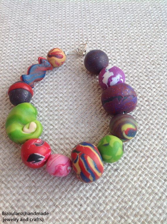 Multicolor polymer clay bracelet, crazy beads bracelet, green,red,purple,pink,blue,black,yellow,white ooak