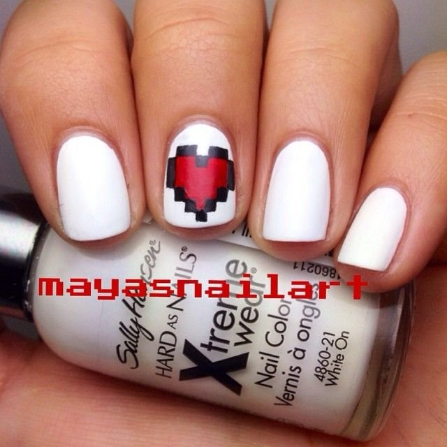 VALENTINE by mayasnailart #nail #nails #nailart beautiful it reminds me of my favorite game...... MINECRAFT! :)