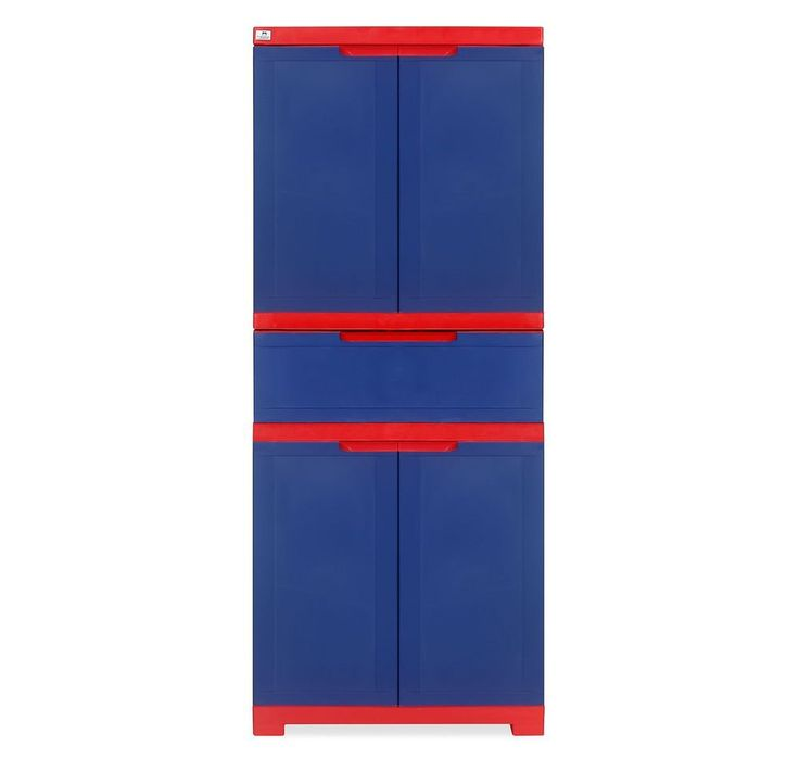 @home by Nilkamal Freedom Cabinet with 1 Drawer (Pepsi Blue and Bright Red) - Best Home and Kitchen Store
