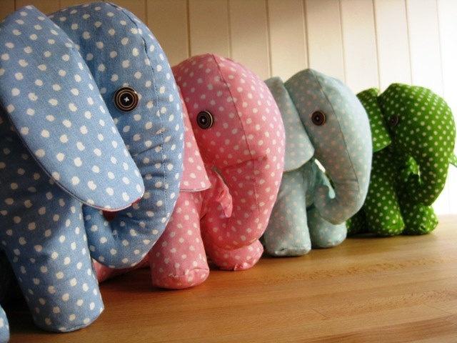Marvelous Handmade Elephant Door Stopper Stops   Dotty Fabrics Pink Blue Green Aqua