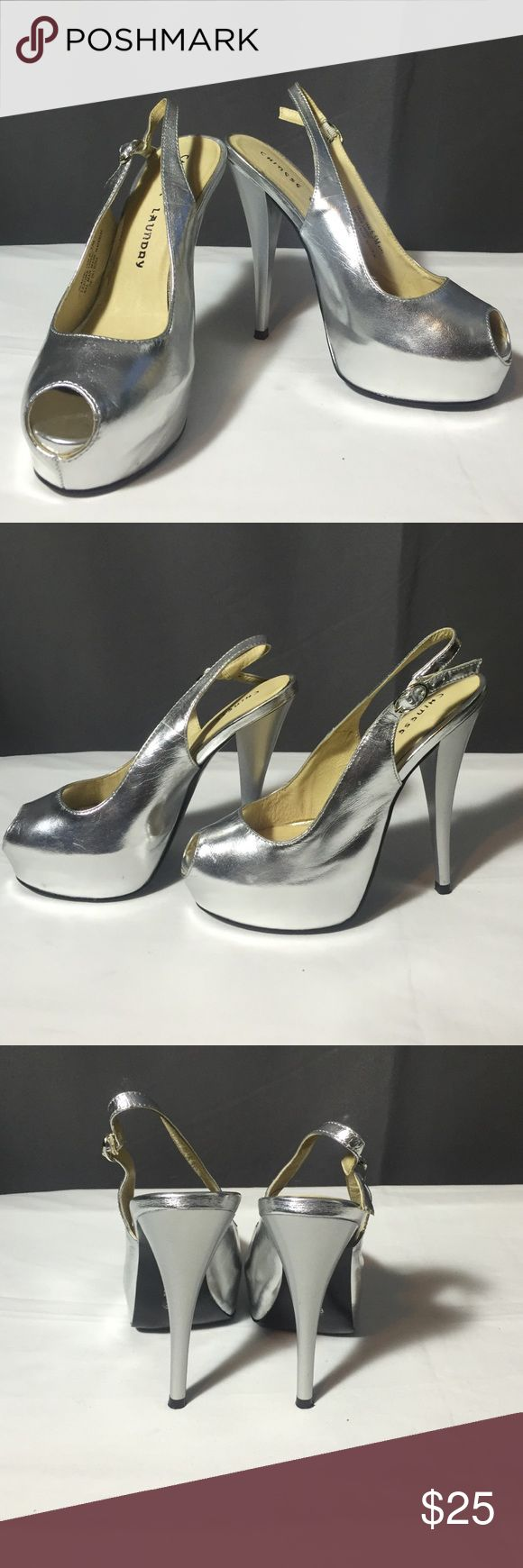 """Chinese Laundry Heels Platform 6.5 Silver Chinese Laundry Heels """"Traffic Jam"""" . Glazed Silver patent leather upper with a small peep toe and adjustable heel strap. A 1 inch hidden platform and skyscraping 5 inches heel. Chinese Laundry Shoes Heels"""