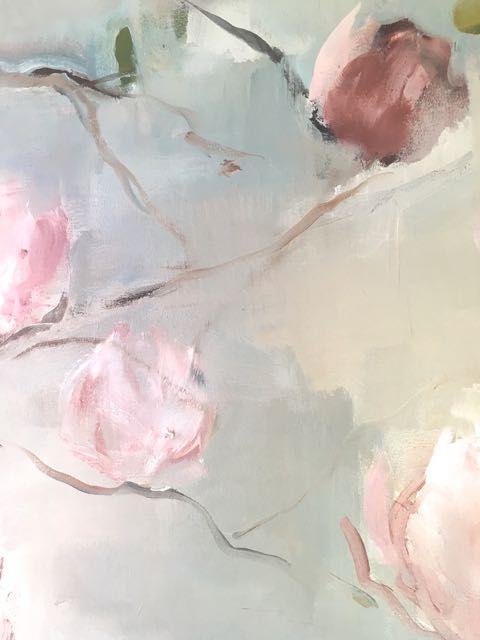 Detail... Magnolias  150x230  Oil on cotton/linen blend Nicole Pletts