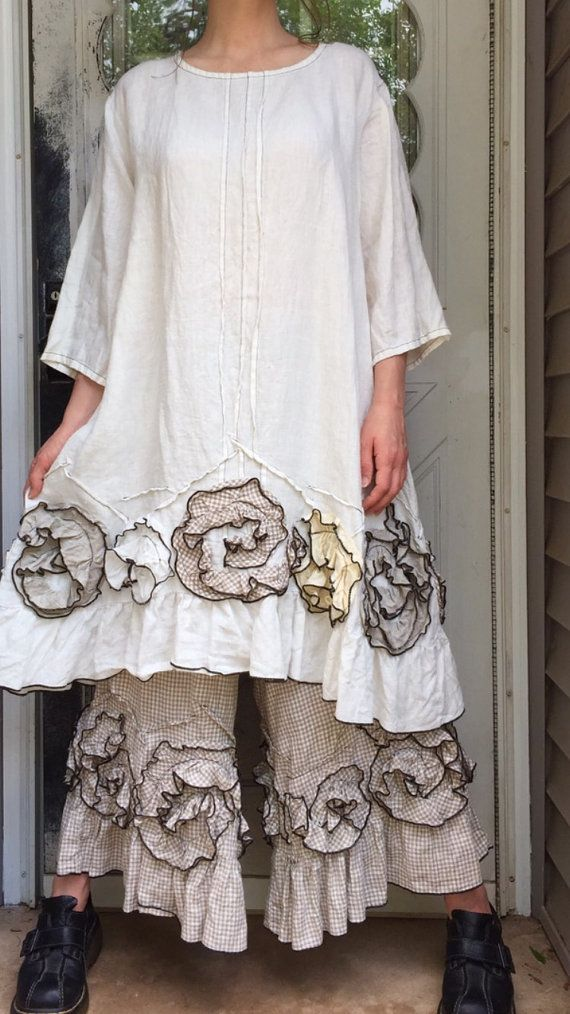 White Linen Flouncey Swirl Tunic Dress M by sarahclemensclothing
