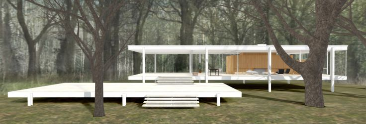 Farnsworth House, the temple of domestic modernism designed by Mies van der Rohe as a weekend retreat for a Chicago d...