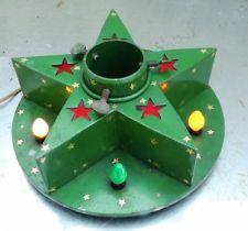 Vintage Christmas Tree Stand ~ Green Metal Star Stand with Lights * Circa, 1930's