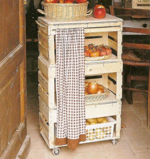 Clever and very thrifty- making kitchen storage out of produce crates. Love that!
