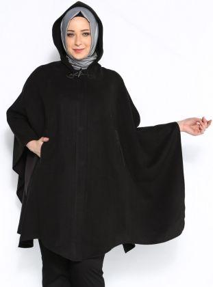 Kapşonlu Kaşmir Pelerin - Siyah - Sultan-ı Yegah :: Zinde Market