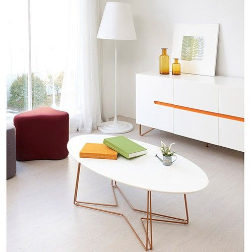 Funk Oval Coffee Table - White with Copper legs                                                                                                                                                                                 More